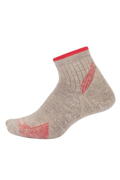 Women's BugsAway Solstice Canyon Quarter Socks, Oatmeal Heather/Lollipop, medium