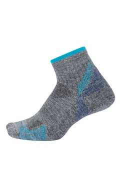 BugsAway Solstice Canyon Quarter Socks, Grey Heather/Algiers Blue, medium