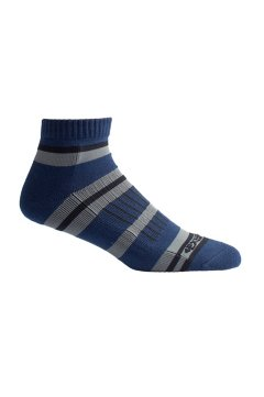BugsAway Sol Cool Quarter Sock, Navy Stripe, medium