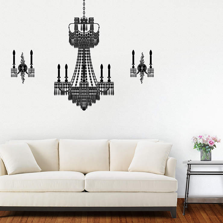 Wall Sconce Chandelier Mural : Crystal Chandelier & Sconces Wall Decal Shop Fathead for Wall Art Decor
