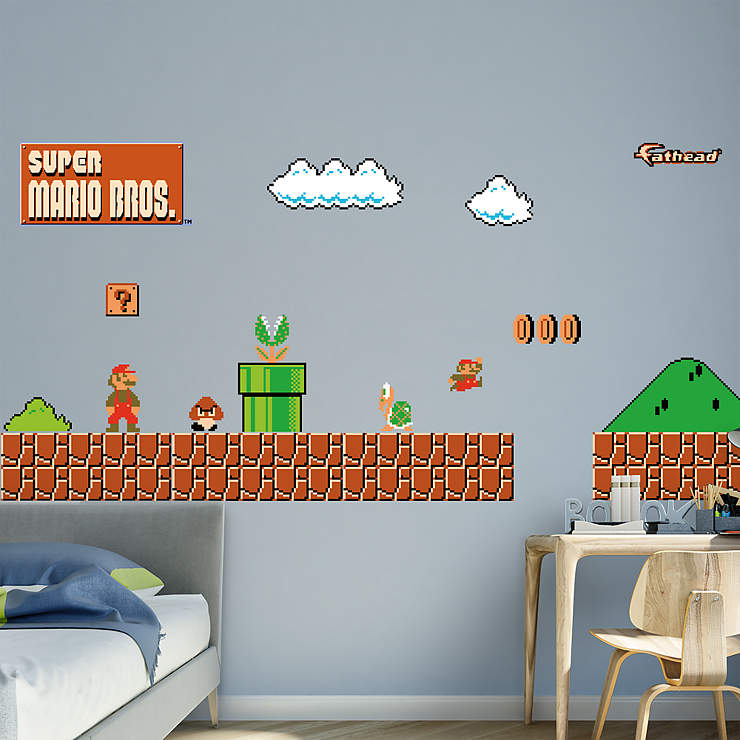 Nes super mario bros theme wall decal shop fathead for mario decor - Mario wall clings ...