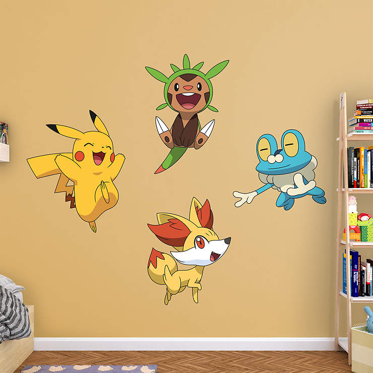 pokemon wall decals pokemon wall decal cute pikachu removable home decor vinyl with. Black Bedroom Furniture Sets. Home Design Ideas