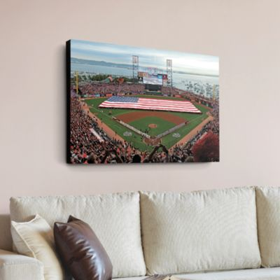 Inside AT&T Park - American Flag Canvas Print