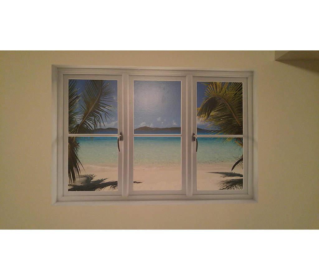 Faux Window Art : Virgin islands beach instant window wall decal shop