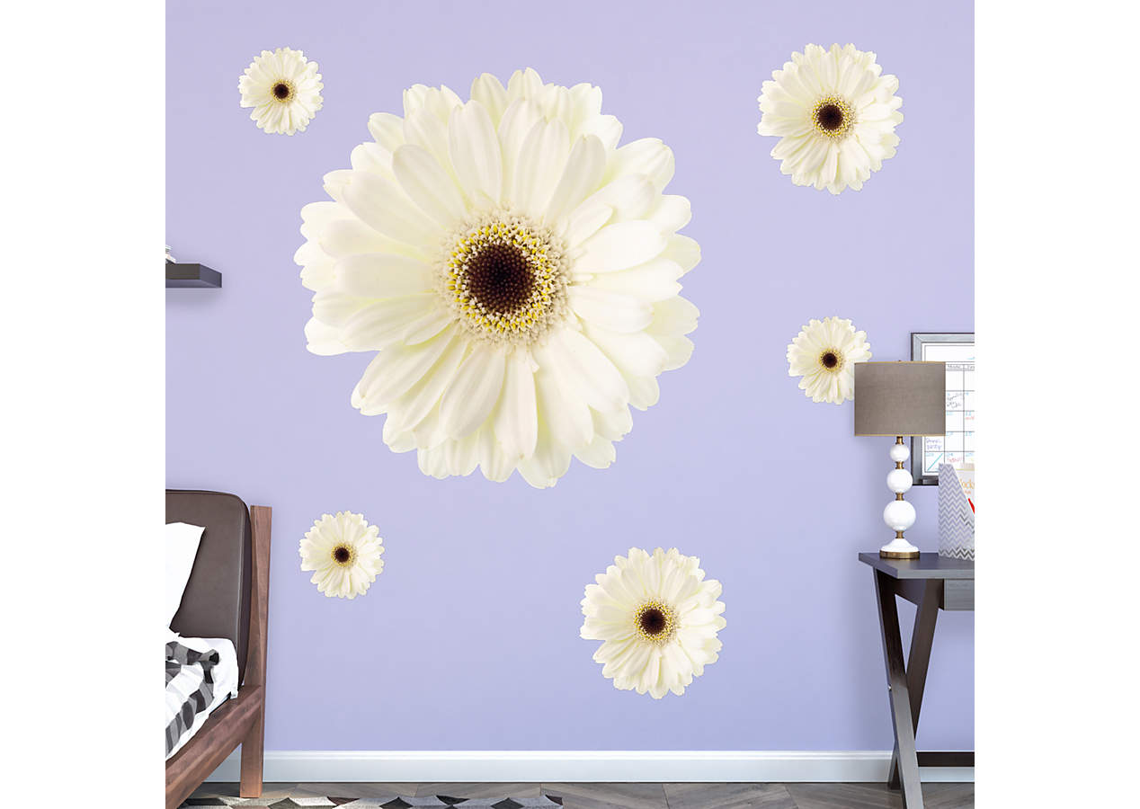 Large Daisy White Large Removable Wall Decals Wall Decal Shop