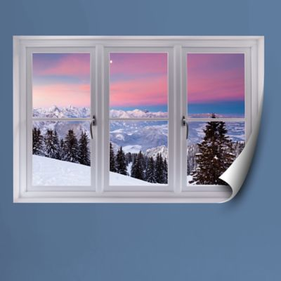 Bavarian Alps Winter Scene: Instant Window Fathead Wall Decal