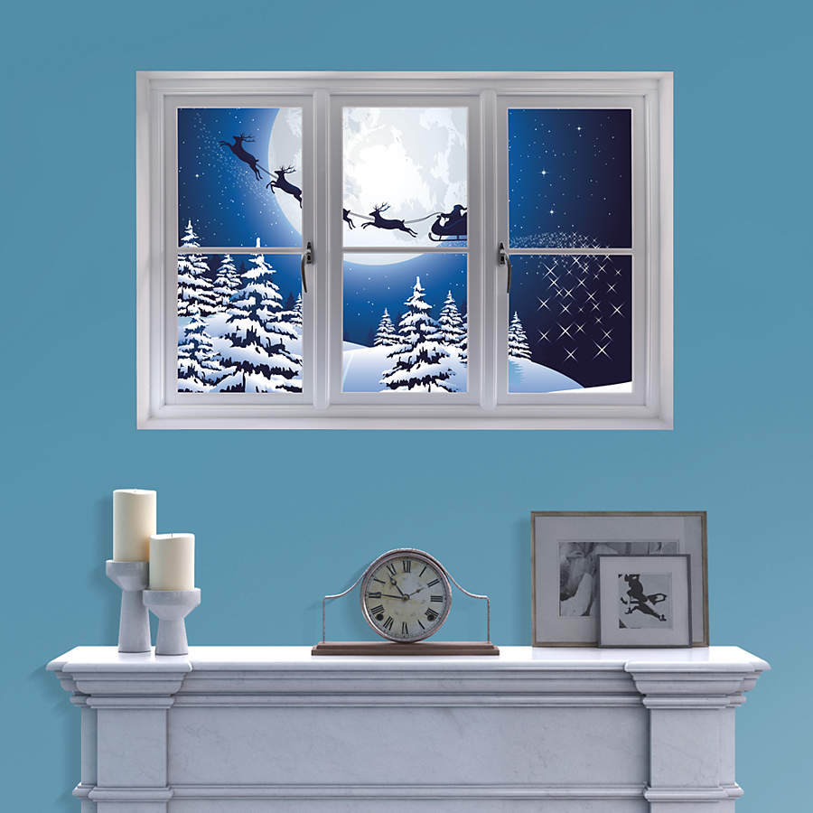 Window Wall Art : Santa sleigh instant window wall decal shop fathead