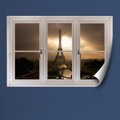 Eiffel Tower at Dusk: Instant Window Fathead Wall Decal