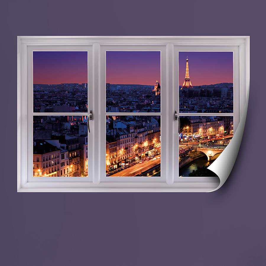 Faux Window Art : Paris skyline at night instant window wall decal shop