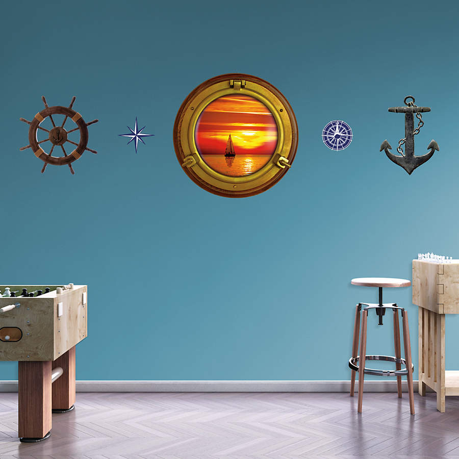 Sunset Sailboat: Porthole Wall Decal