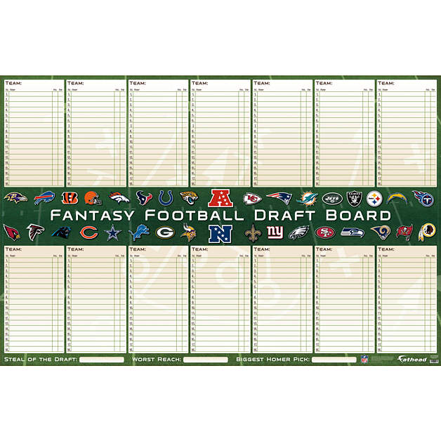 Shop football wall decals gifts fathead nfl for Fantasy football draft board template