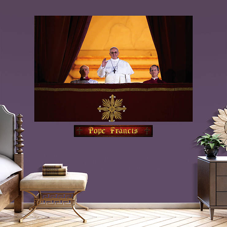 Pope francis balcony mural wall decal shop fathead for for Balcony wall decoration