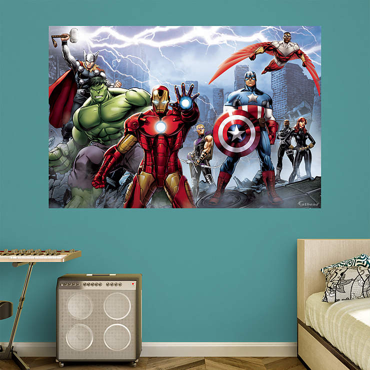 Avengers Assemble Mural Wall Decal Shop Fathead 174 For