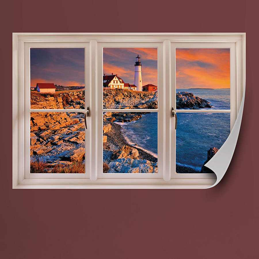 Window Wall Art : Portland maine lighthouse instant window wall decal