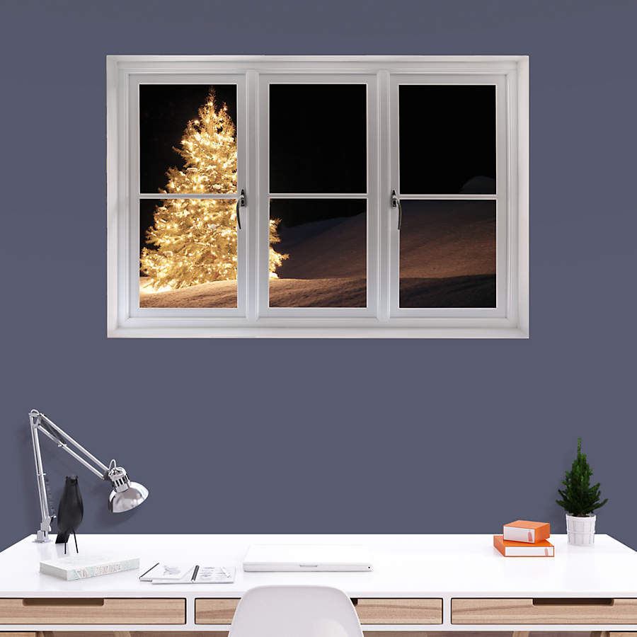 Instant Window Decals : Christmas tree with lights instant window wall decal