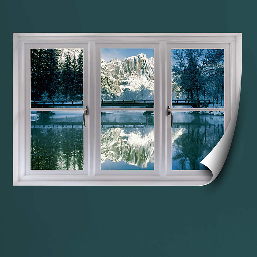 Winter at yosemite instant window wall decal shop for Window design wall