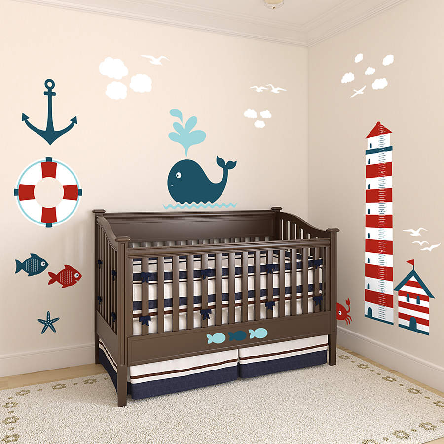 nautical theme nursery height chart wall decal shop fathead for nautical decor. Black Bedroom Furniture Sets. Home Design Ideas