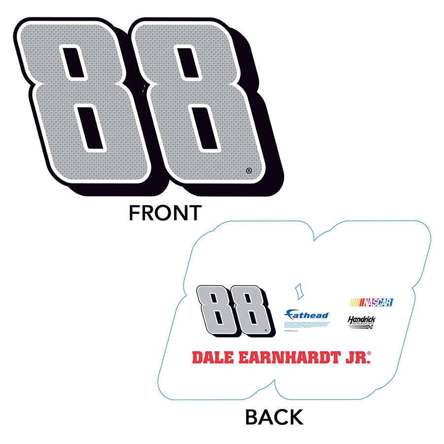 Dale earnhardt jr silver 88 big head sign shop fathead for Large cardboard cut out numbers
