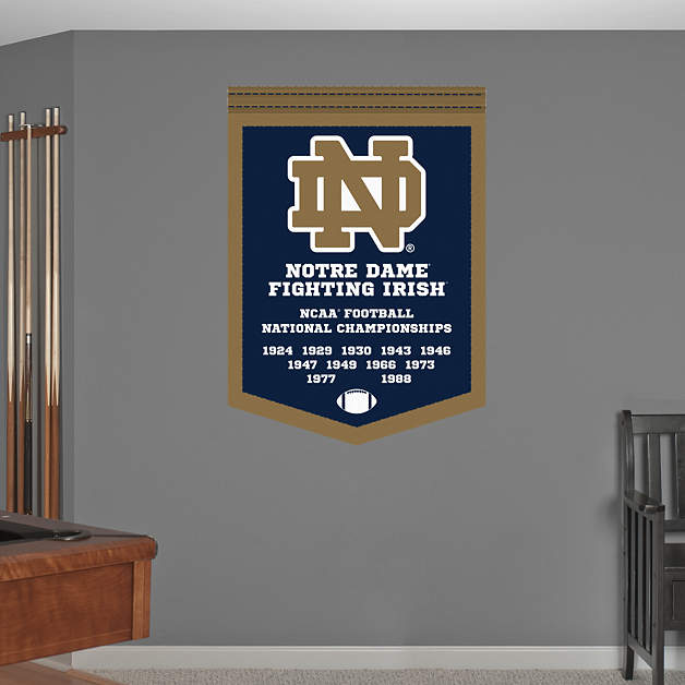Notre Dame Football National Championships Banner Wall