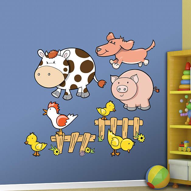 Kids Room Wall Decals Farm Wall Decals Farm Animal Decals: Farm Animals Group One Wall Decal