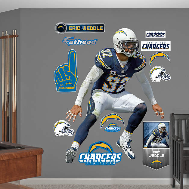 San Diego Chargers Car Decals: Life-Size Eric Weddle Wall Decal