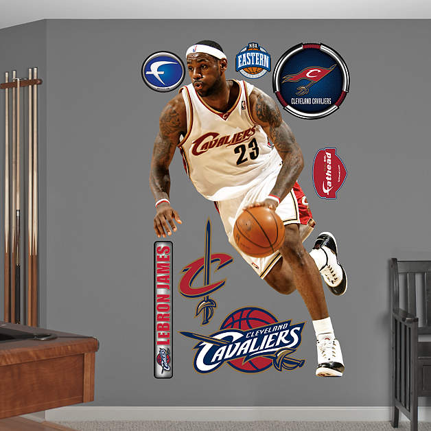 Cleveland Cavaliers Fans Scale Walls To Get Photos Of Nba: Life-Size LeBron James Throwback Wall Decal