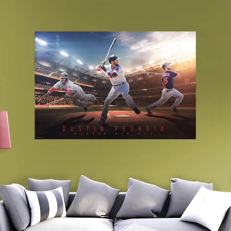 Dustin pedroia montage mural wall decal shop fathead for Boston wall mural