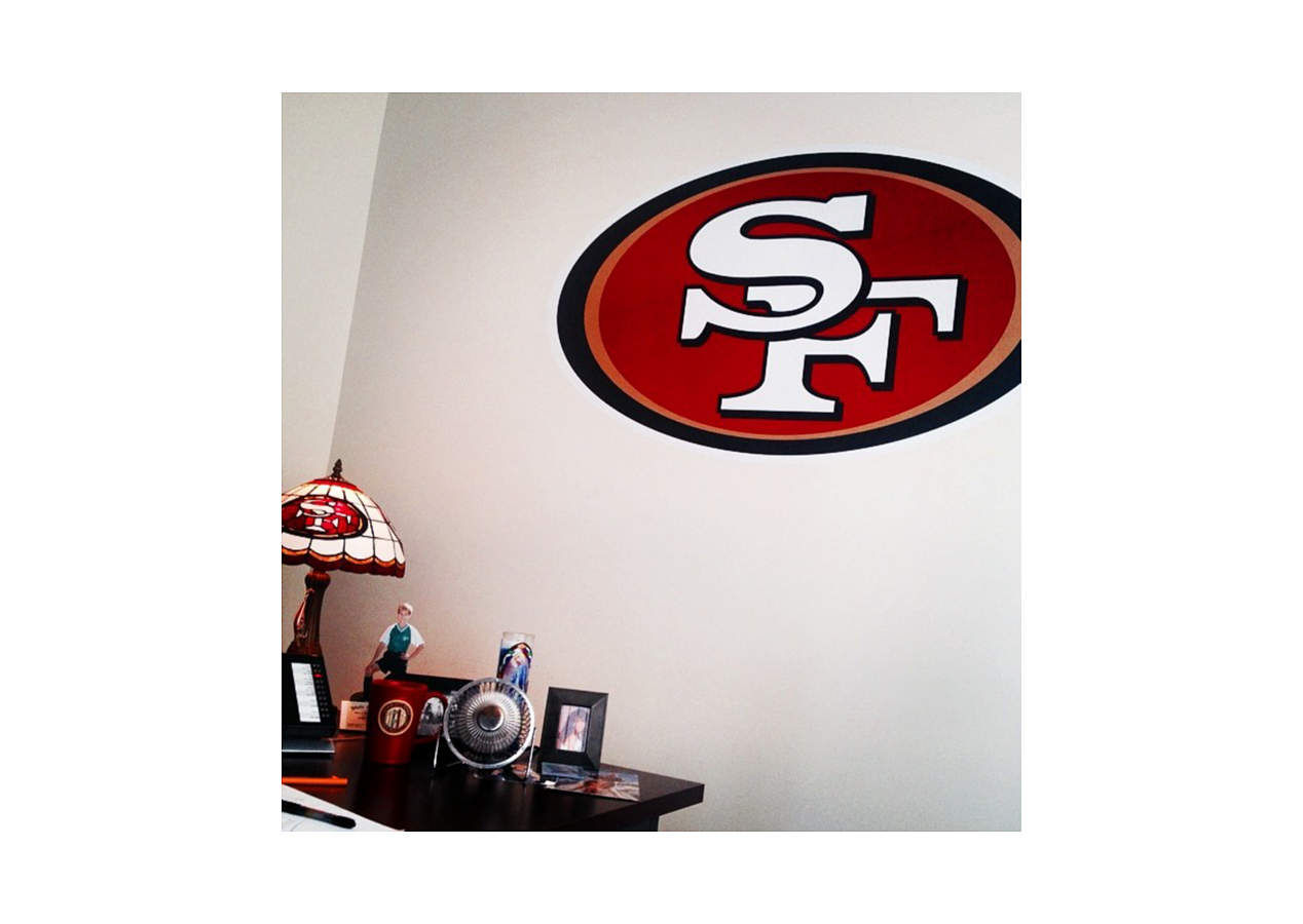 San francisco 49ers logo wall decal shop fathead for for 49ers wall mural