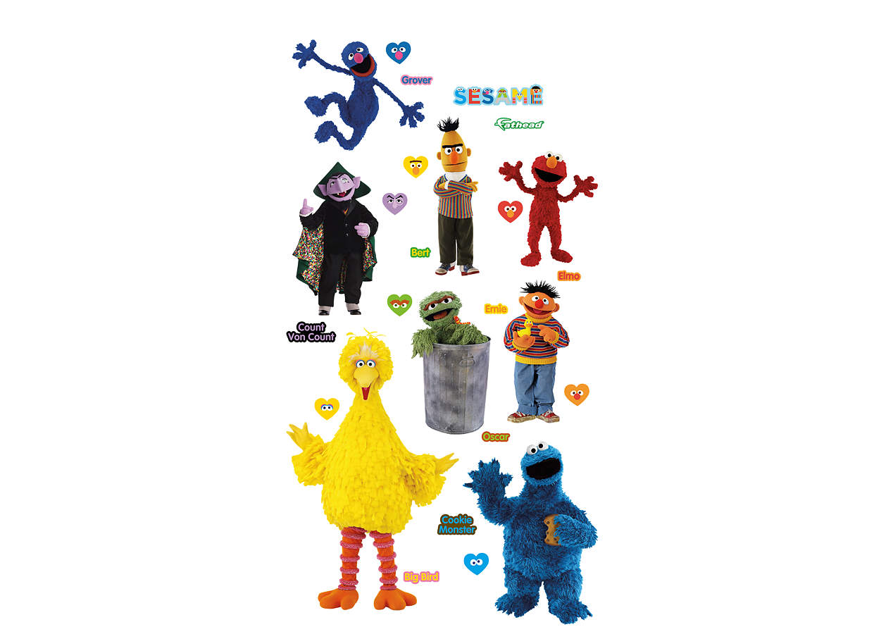 sesame street collection wall decal shop fathead for sesame street decor. Black Bedroom Furniture Sets. Home Design Ideas