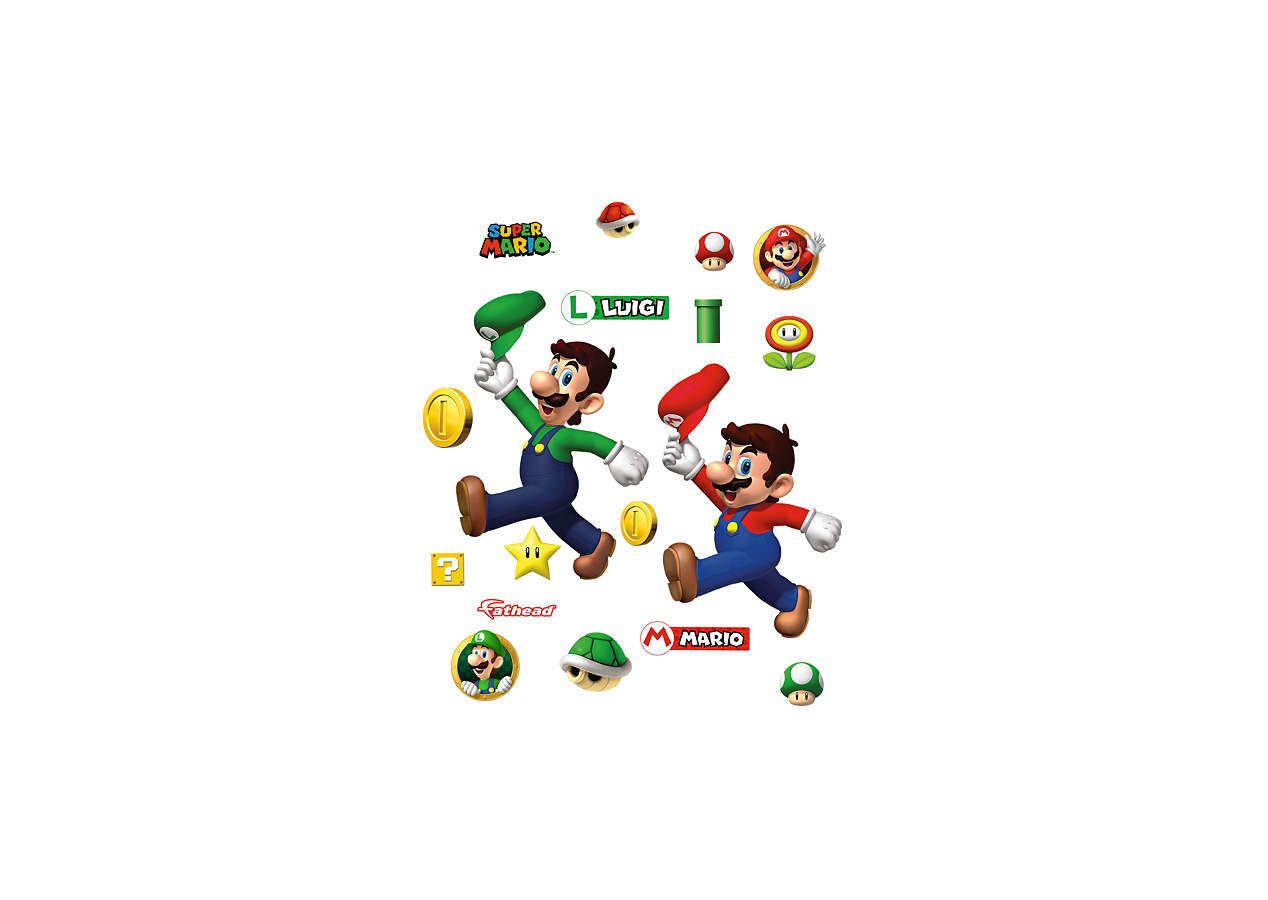 Super mario bros wall decal shop fathead for mario decor - Mario wall clings ...