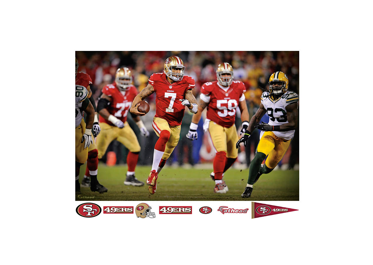 Colin kaepernick nfl playoff rush mural wall decal shop for 49ers wall mural
