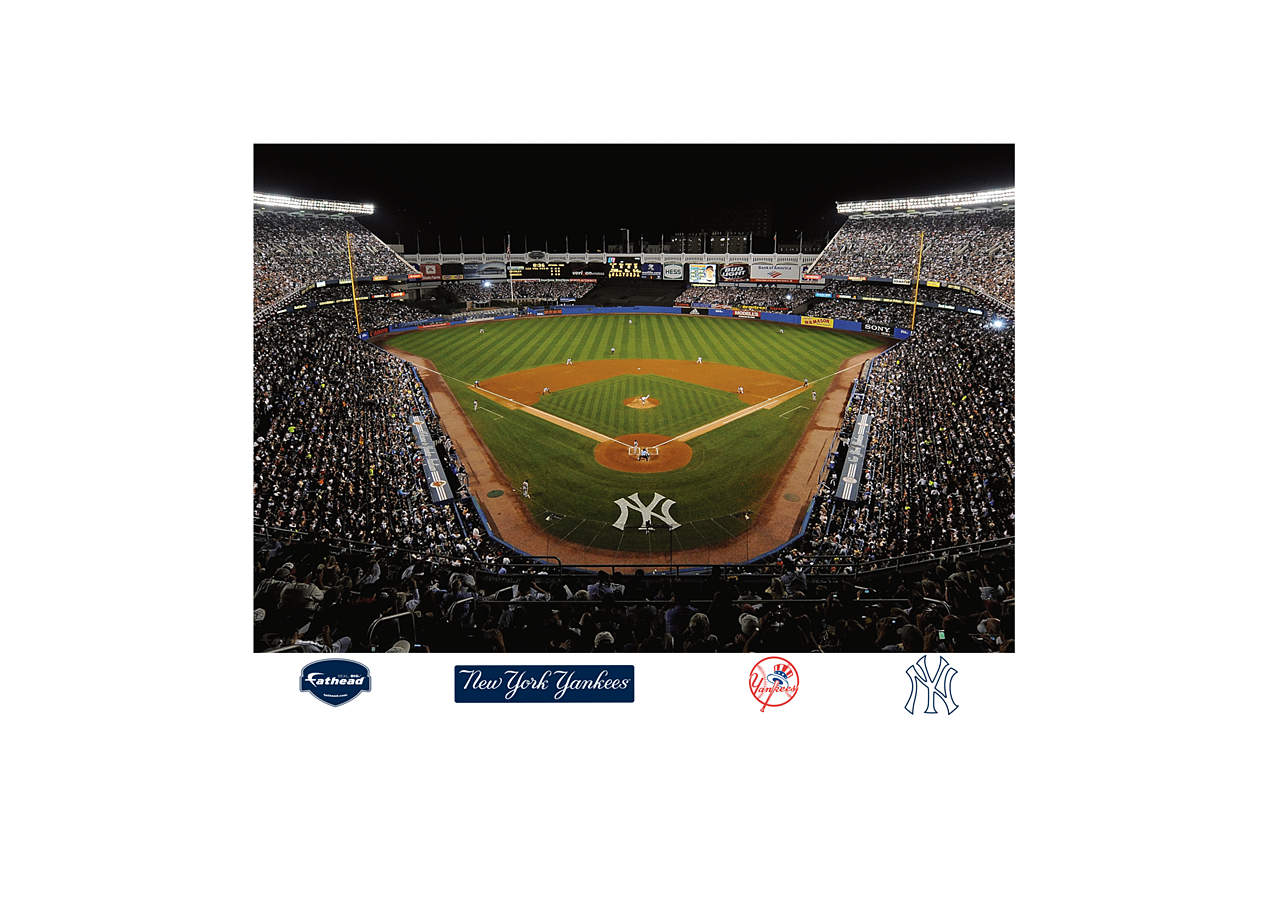 inside old yankee stadium mural wall decal shop fathead for new york yankees decor. Black Bedroom Furniture Sets. Home Design Ideas