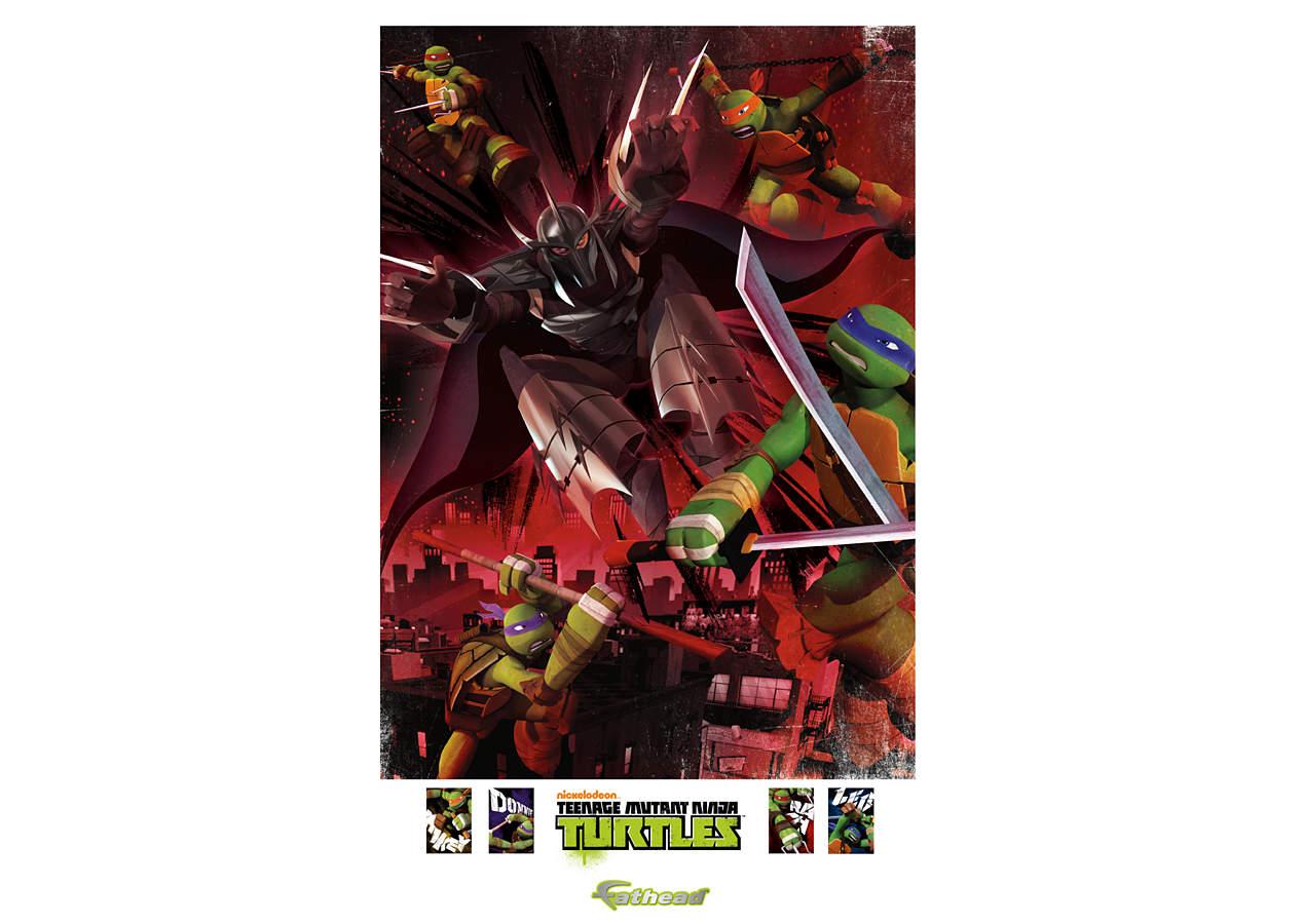 Teenage mutant ninja turtles shredder battle mural wall for Siege mural rabattable