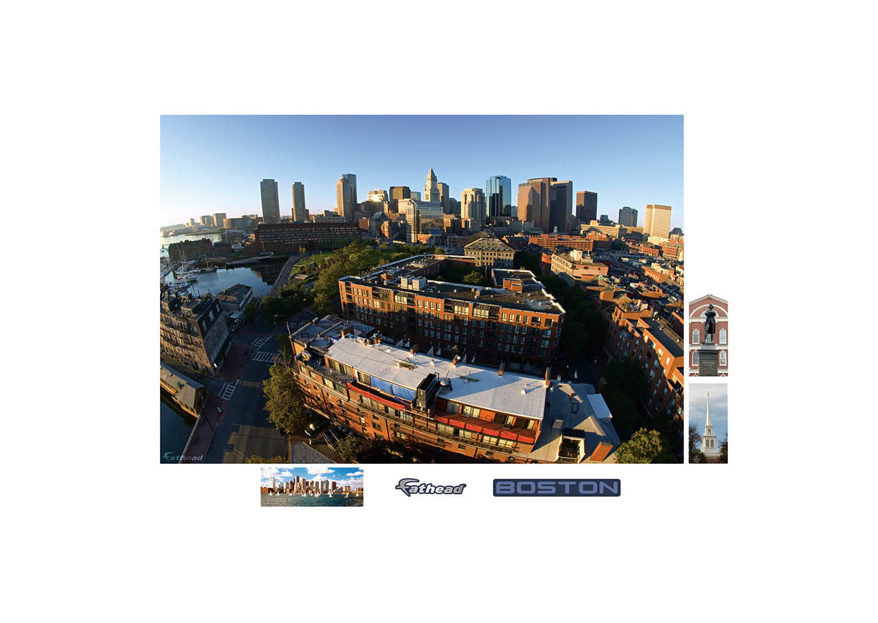 Boston skyline mural wall decal shop fathead for for Boston wall mural