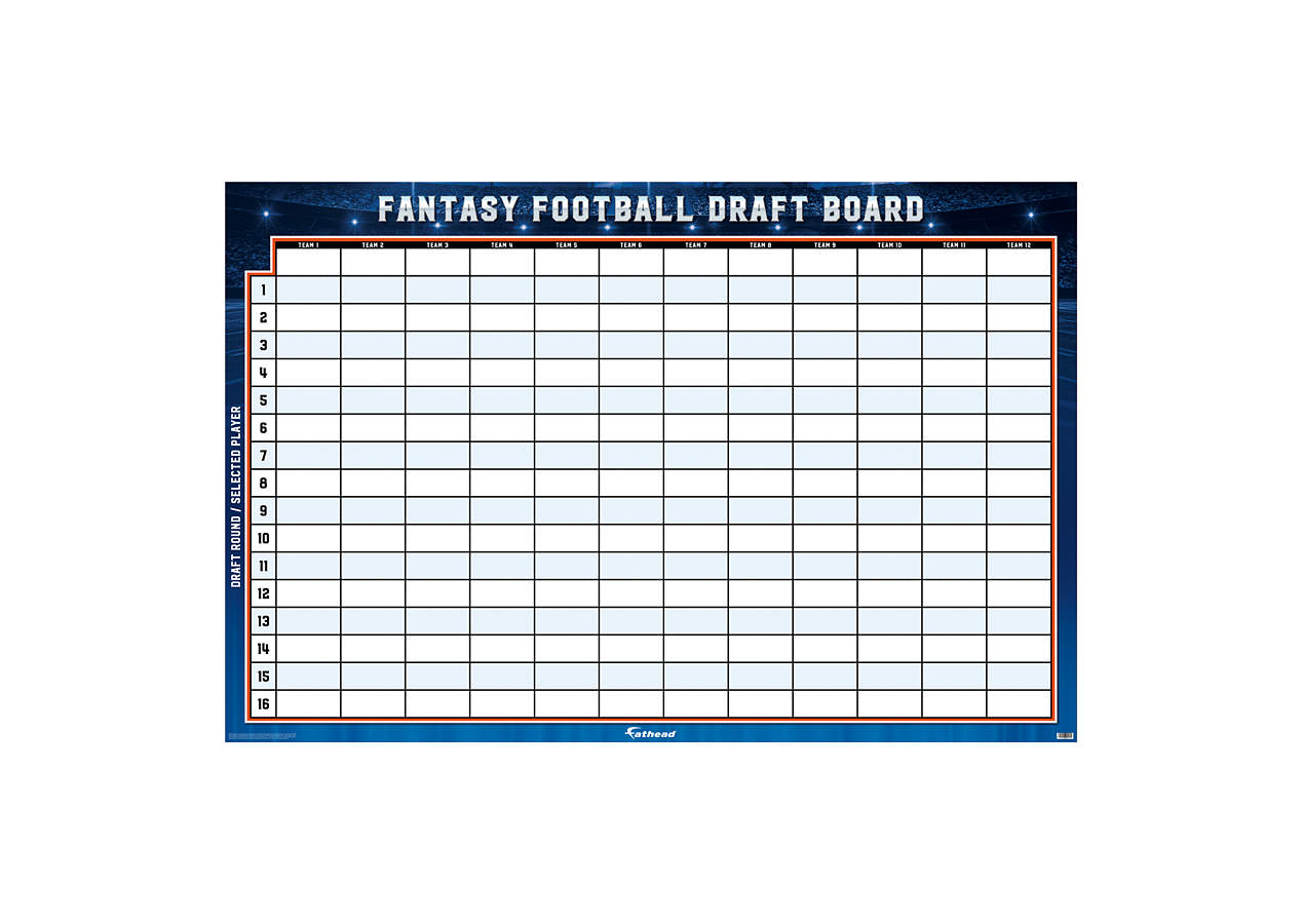 fantasy football draft board template - fantasy football 12 team dry erase draft board wall decal