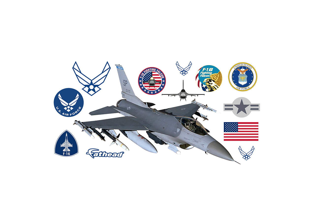 F 16 falcon wall decal shop fathead for air force decor for Decor 6 air force