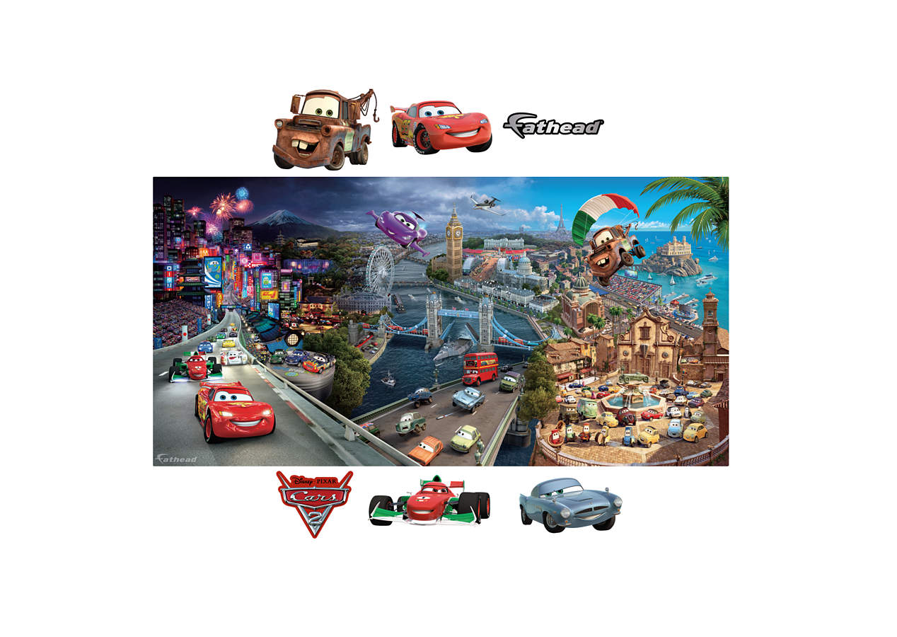 Cars 2 mural wall decal shop fathead for the world of for Disney cars large wall mural