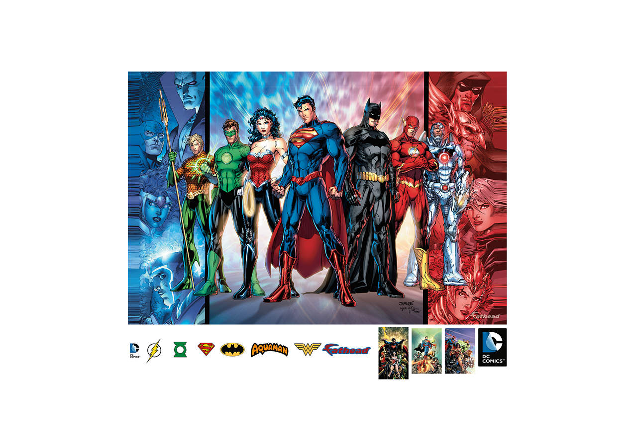 Justice league mural wall decal shop fathead for for Room decor justice