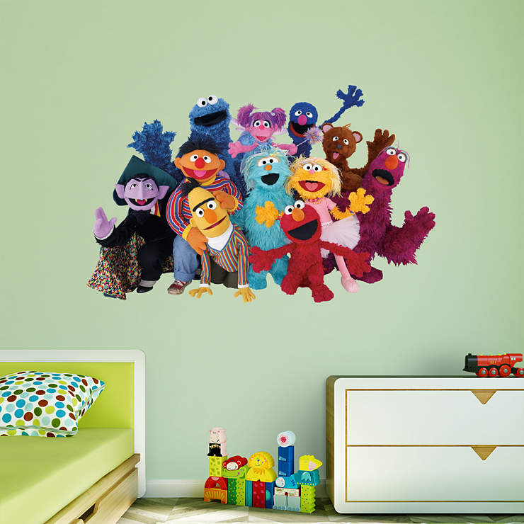 sesame street group wall decal shop fathead for sesame street decor. Black Bedroom Furniture Sets. Home Design Ideas