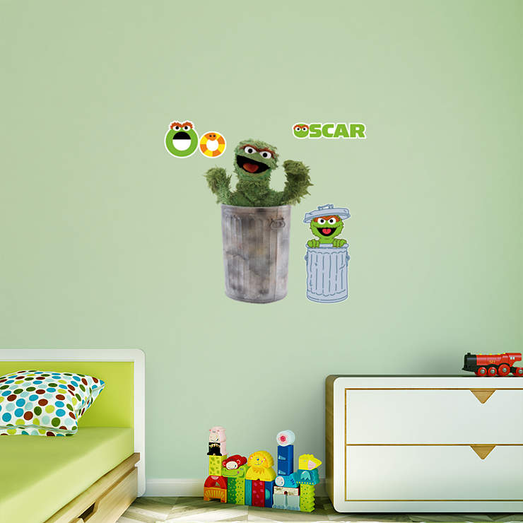 oscar the grouch wall decal shop fathead for sesame street decor. Black Bedroom Furniture Sets. Home Design Ideas