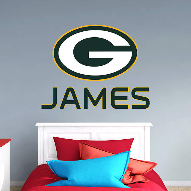 Green Bay Packers Stacked Personalized Name Wall Decal
