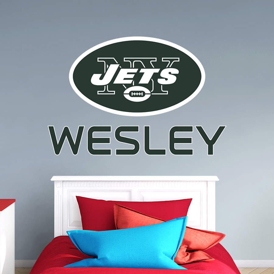 New York Jets Stacked Personalized Name Wall Decal