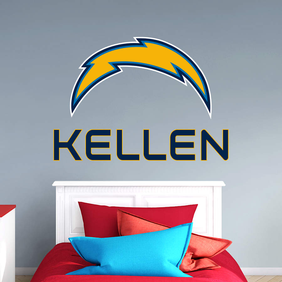 San Diego Chargers Decals: Los Angeles Chargers Stacked Personalized Name Wall Decal