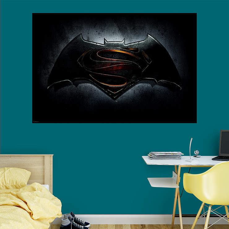 Batman v superman logo mural wall decal shop fathead for Batman wall mural