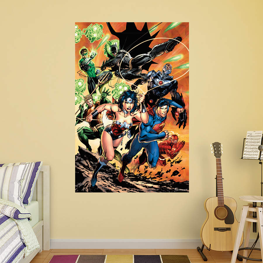 Justice League Attack Mural Wall Decal