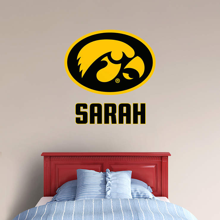Iowa hawkeyes stacked personalized name wall decal shop for Iowa hawkeye decor