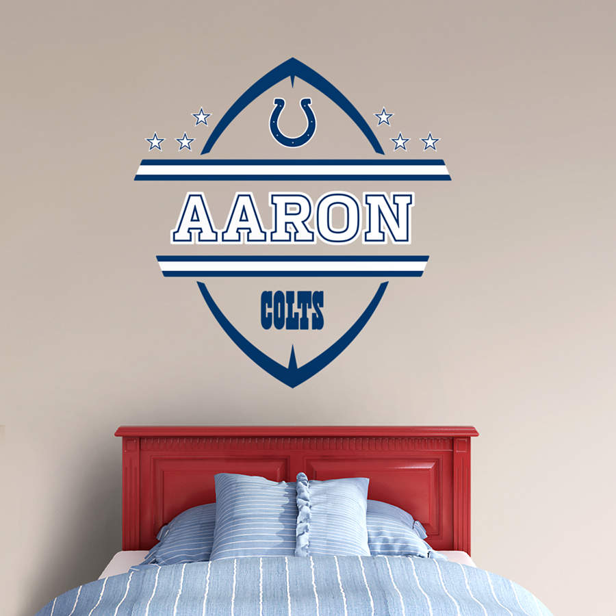 Indianapolis colts personalized name wall decal shop for Colts bedroom ideas