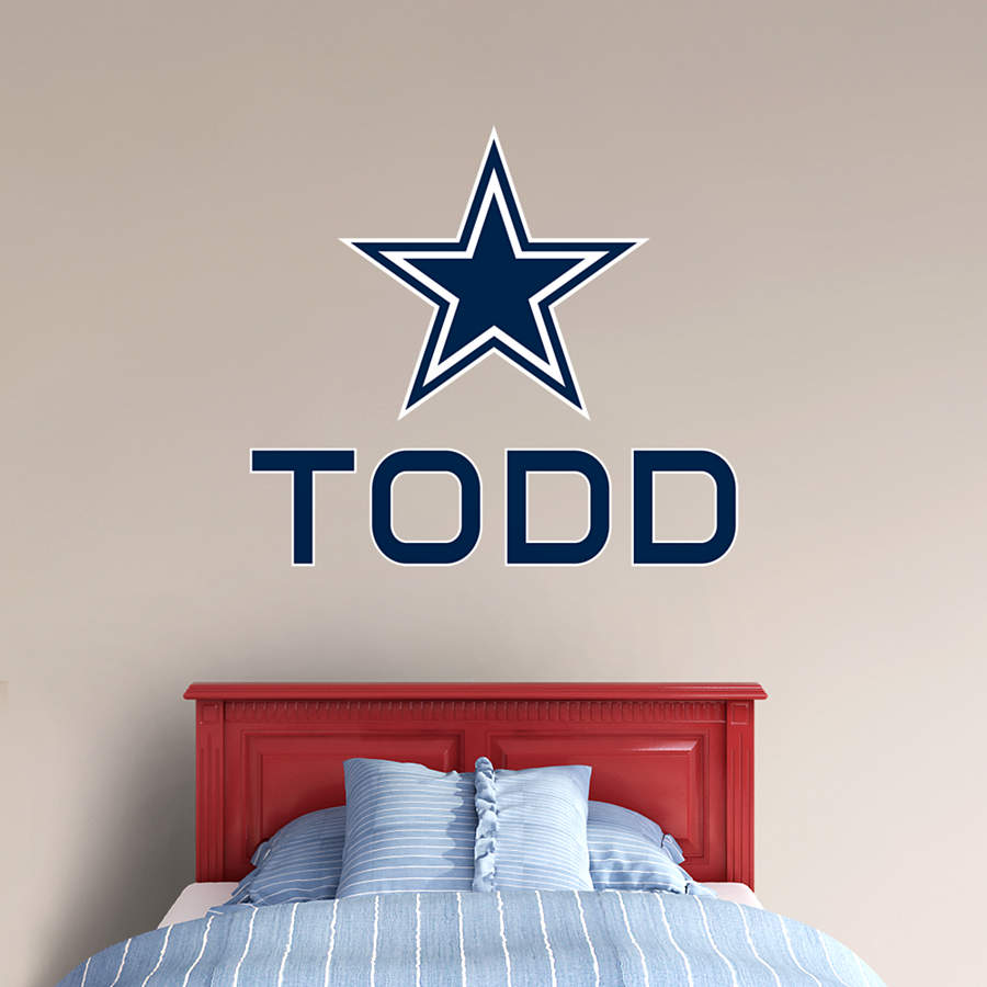Dallas cowboys stacked personalized name wall decal shop for Dallas cowboys wall decals for kids rooms