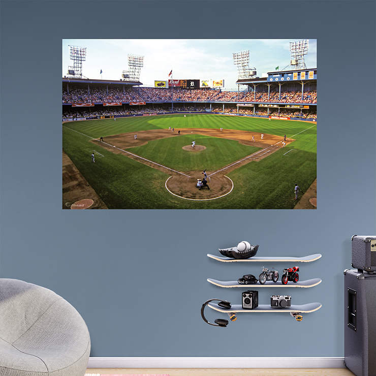 Baseball stadium wall mural baseball theme bedrooms on for Dodger stadium wall mural