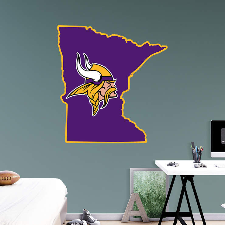 Classroom Decor Animals ~ Minnesota vikings state of logo wall decal